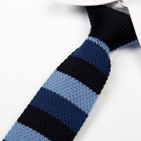 Black and Blue Striped Knit Tie