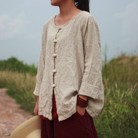 New spring autumn women's long sleeve round collar blouses & shirts Loose casual cardigan plus size