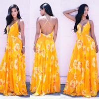 Yellow Floral Print Strappy Back Maxi Dress