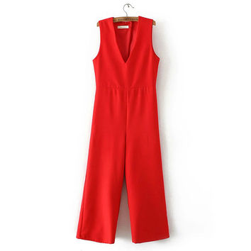 Sleeveless Jumpsuit - Red and Black = 4777465732