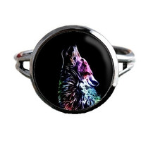 Fractal Animal Ring - Howling Wolf - Wildlife Jewelry