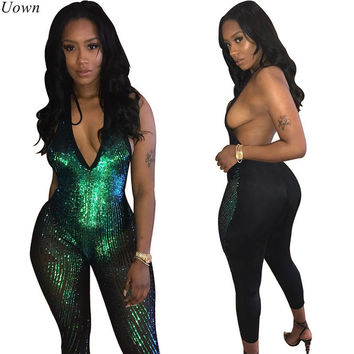 New Women Sexy Halter Deep V Neck Sleeveless Glitter Jumpsuit Fashion Open Back Party Nightclub Sequined Jumpsuit Female Catsuit