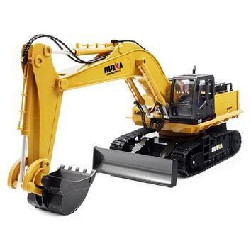 Huina 1510 RC Excavator Car 2.4G 11CH Metal Remote Control Engineering Digger Truck Model Electronic Heavy Machinery Toy