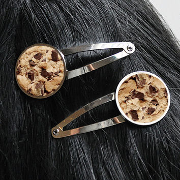 Chocolate Chip Cookie Hair Clips Hair Barrette Set Funny Kawaii Clips