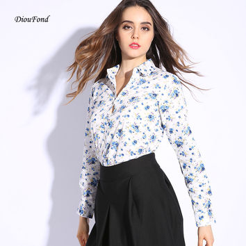 Brand New Floral Women Shirts Cotton Long Sleeve Shirt Vintage Printed Turn-down Collar Ladies Blouses Women Tops Fashion 2016