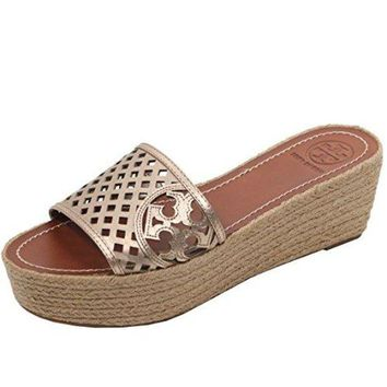 DCCKG2C Tory Burch Thatched Wedge Perforated Flip Flop Sandal TB Logo Slide