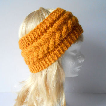 Mustard Headband. Knitted ear warmer. Knit turbin. Cable knit headband. Hand knit earmuffs. Knitted headwarmer . Handmade Gift for her.