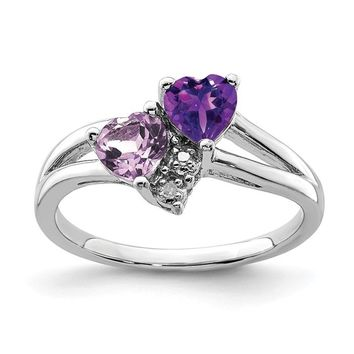 Sterling Silver Amethyst & Pink Quartz & Diamond Double Heart Ring