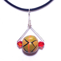 African Charm Necklace – Ethnic Pendant Black Leather Cord Necklace – Bohemian Jewelry – Gift for Sister