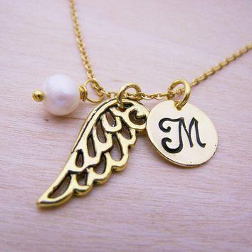 Angel Wing Necklace - Gold Initial Necklace - Birthstone Necklace - Initial Disc Necklace - Personalized Necklace - Angel Wing Charm