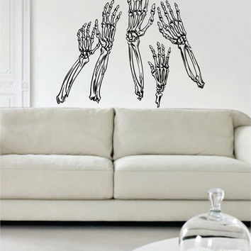 Skeleton Hands Design Decal Sticker Wall Vinyl Art Home Room Decor