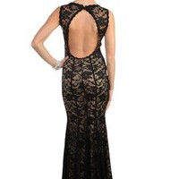 all over sheer lace illusion long prom dress with mermaid skirt - debshops.com
