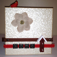 "Birdhouse/Cardinal Home Plaque - 5x5"" - Wall or Tabletop Decor - READY TO SHIP"