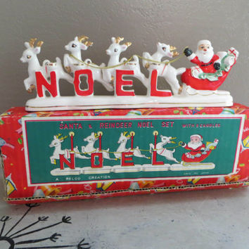 Relco Santa and Sleigh Candle Holder Santa & Reindeer Noel Set Relco Creation Vintage Santa Relco Santa Holiday Decor Christmas Decor