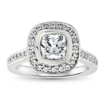 Cushion Cut Diamond Bezel Set Moissanite Center Engagement Ring - Betty
