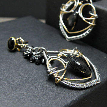 Gold and black silver wire wrapped earrings, black spinel, elegant, gold plated studs