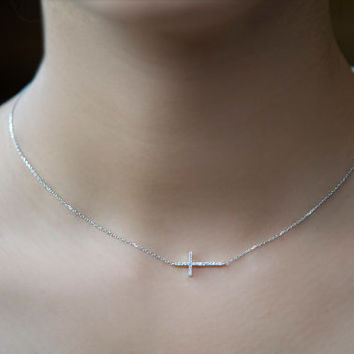 Sideways Cross Silver Necklace. Sterling Silver. Minimalist