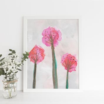 Watercolor Dandelion Tribal Boho Art Print