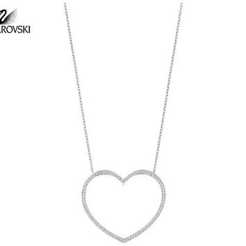 Swarovski Clear Crystal CADMIA Heart Pendant Necklace Rhodium  5 b325c5a2dd
