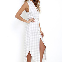 BB Dakota Lance Grey Plaid Maxi Dress