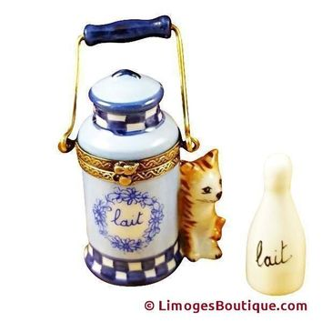 CAT WITH MILK JUG AND BOTTLE LIMOGES BOXES