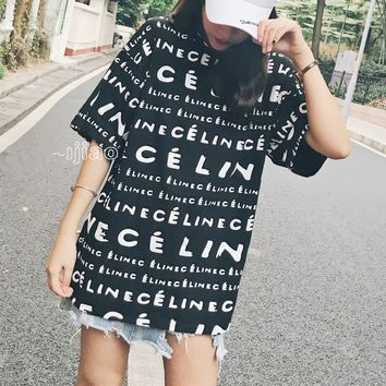 """""""Céline"""" Women Casual Fashion Personality Letter Print Short Sleeve T-shirt Top Tee"""