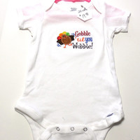Embroidered Onesuit Bodysuit Onesuit Gobble Til You Wobble 24 months
