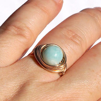 8mm Amazonite Gold Filled Ring, Wire Wrapped Ring, Mint Gold Ring, Gift Idea for Her, Mint and Gold Jewelry, Amazonite Solitaire Ring