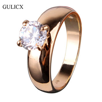 GULICX Fashion Statements Rings for Women 18K Gold Plated Round White Austrian Crystal Rings Zircon CZ Band Engagement Ring R083