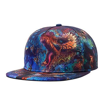 1PC Colorful 3D Print Snapback Cap Hip Hop Baseball Cap For Men Fashion Starry Sky Casquette Blue Spring Summer Dragon Flat Hats