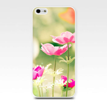 iphone 5s case pink flowers iphone case iphone 4s case floral iphone case 5 iphone 4 case botanical case nature iphone case green pastel
