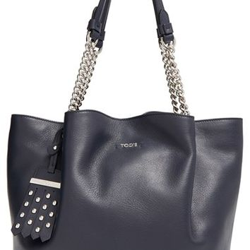 Tod's 'Small Flower' Leather Shopper with Chain Handles | Nordstrom