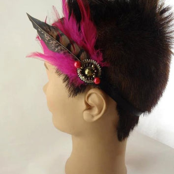 Funky Headband Adorned With Feathers and Beads by toppytoppy