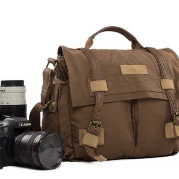 BLUESEBE UNISEX WAXED CANVAS MESSENGER DSLR CAMERA BAG BBK-3C