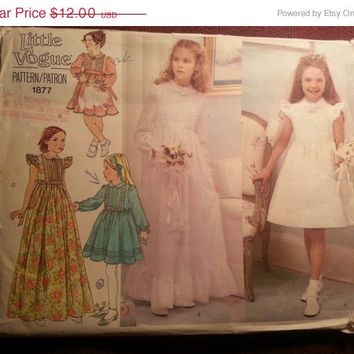 Uncut 1970's Little Vogue Sewing Pattern, 1877! Size 7 Girls/Short or Long Dress/Long Sleeve Dress/Sleeveless Dress/Prairie Country Western