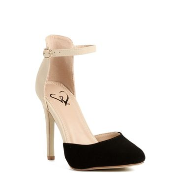 Sale- Black And Nude Colorblock Heels