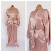 Vintage Romantic 90s does 1940s Silky Pink Robe Dressing Gown Lingerie Boudoir Fashion Bridal Wedding Night 1920s Hollywood Glamour