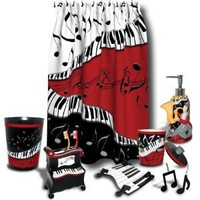 Jazzy Music Themed Shower Curtain & Accessory Bundle