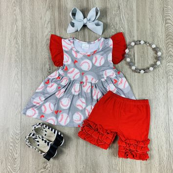 RTS Red & Gray Short Set D73