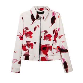 White Petal Print Shirt Collar Long Sleeve Jacket
