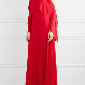 Rosetta Getty - Cold-shoulder draped silk-georgette gown