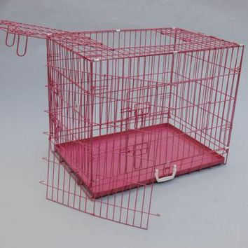 "Pink 36"" 3 Doors Folding Suitcase Dog Crate Cat Cage Kennel w/DIVIDER Metal Pan"