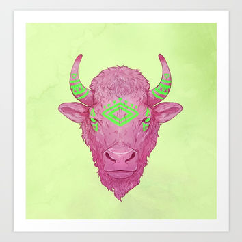 American bison Art Print by ADZIUR