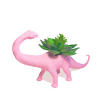 Up-cycled Baby Pink Apatosaurus Dinosaur Planter