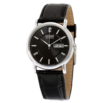 Citizen Men's  Eco-Drive Stainless Steel Black Leather Strap Watch