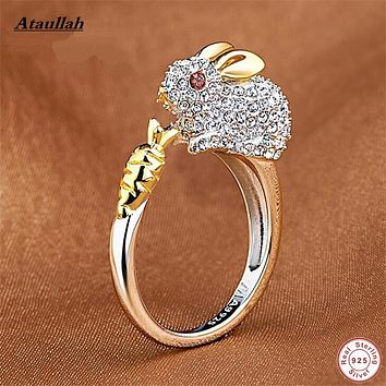 Ataullah 12 Pet Zodiac Rabbit Trendy 925 Silver Women Rings Wave Fine Sterling-Silver-Jewelry Adjustable Ring RWD827