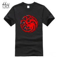 HanHent Targaryen Dragon T shirt Men Fire and blood 3D Cotton Short sleeve Stark Wolf Tshirt Game of Thrones T-shirt Swag Casual