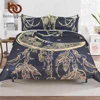 BeddingOutlet Mandala Flowers Duvet Cover With Pillowcase Black Dark Blue Bedding Set Queen Size Moon Feather Boho Quilt Cover