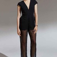 Silence + Noise Double-V Sheer Leg Jumpsuit - Black