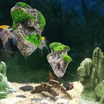 Aquarium Tank Floating Rock Suspended Artificial Stone Aquarium Decor Fish Tank Decorations Floating Pumice Flying Rock Ornament